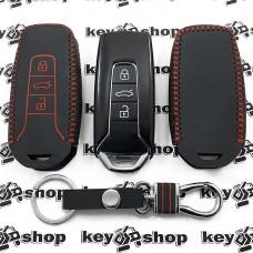 Кожаный чехол (с красной строчкой), для смарт ключа VOLKSWAGEN Touareg (Фольксваген Туарег) 3 кнопки, тип 2