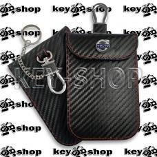 Чехол Фарадея, антисканер, противоугонный чехол Volvo (Вольво) (кожаный, под карбон, черный, на липучке, с карабином, с кольцом)