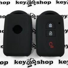 Чехол (черный, силиконовый) для смарт ключа Nissan (Ниссан) 3 кнопки