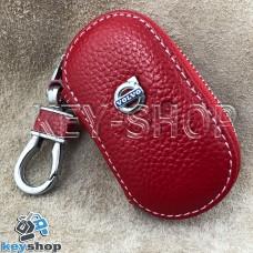 Ключница карманная (кожаная, красная, на молнии, с карабином, с кольцом), логотип Volvo (Вольво)