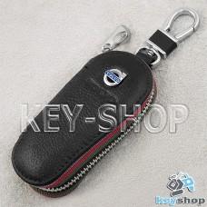 Ключница карманная (кожаная, черная, на молнии, с карабином, с кольцом), логотип Volvo (Вольво)