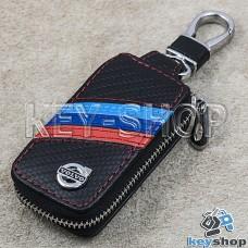 Ключница карманная (кожаная, черная, под карбон, на молнии, с карабином, с кольцом), логотип Volvo (Вольво)