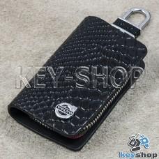 """Ключница карманная (черная, """"змеиная кожа"""", на молнии, с карабином, с кольцом), логотип Volvo (Вольво)"""