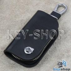 Ключница карманная (кожаная, черная, с узором, на молнии, с карабином, с кольцом), логотип авто Volvo (Вольво)