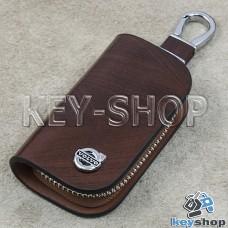 Ключница карманная (кожаная, коричневая, с узором, на молнии, с карабином, с кольцом), логотип авто Volvo (Вольво)
