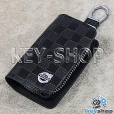 Ключница карманная (кожаная, коричневая, с тиснением, на молнии, с карабином, с кольцом), логотип авто Volvo (Вольво)