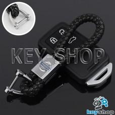 Кожаный плетеный (черный) брелок для авто ключей VOLVO (Вольво)