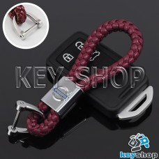 Кожаный плетеный (бордовый) брелок для авто ключей VOLVO (Вольво)