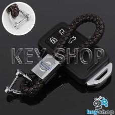 Кожаный плетеный (коричневый) брелок для авто ключей VOLVO (Вольво)