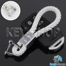 Кожаный плетеный (белый) брелок для авто ключей VOLVO (Вольво)