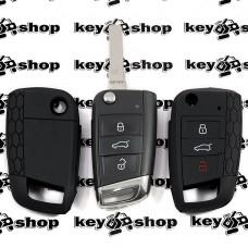 Чехол (черный, силиконовый) для выкидного ключа Volkswagen (Фольксваген) 3 кнопки, (Америка)