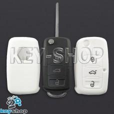 Чехол (белый, силиконовый) для выкидного ключа Seat (Сеат) 3 кнопки