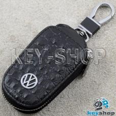 Ключница карманная (кожаная, черная, с тиснением, на молнии, с карабином, с кольцом), логотип авто Volkswagen (Фольксваген)