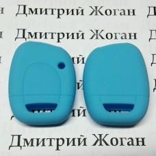 Чехол (голубой, силиконовый) для авто ключа RENAULT (Рено) 1 кнопка
