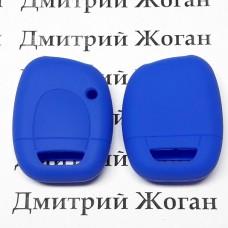 Чехол (синий, силиконовый) для авто ключа RENAULT (Рено) 1 кнопка