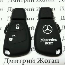 Чехол (черный, силиконовый) для смарт ключа Mercedes (Мерседес) 2 кнопки