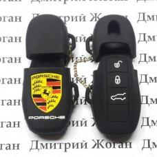 Чехол (черный, силиконовый) для смарт ключа Porsche (Порше) 3 кнопки