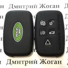 Чехол (черный, силиконовый) для смарт ключа LAND ROVER (Ленд Ровер) 5 кнопок