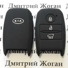 Чехол (черный, силиконовый) для смарт ключа KIA (КИА) 3 кнопки