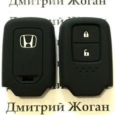 Чехол (черный, силиконовый) для смарт ключа Honda (Хонда) 2 кнопки