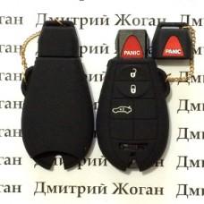 Чехол (черный, силиконовый) для смарт ключа Jeep, Dodge, Chrysler (Джип, Додж, Крайслер) 3 кнопки + 1