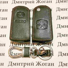 Чехол (кожаный) для выкидного ключа Mazda (Мазда) 2 кнопки