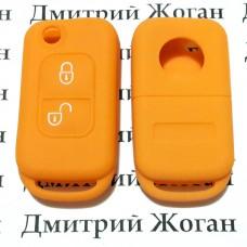Чехол (оранжевый, силиконовый) для выкидного ключа Mercedes (Мерседес) 2 кнопки