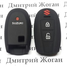 Чехол (черный, силиконовый) для смарт ключа Suzuki (Сузуки) 2 кнопки