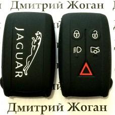 Чехол (черный, силиконовый) для смарт ключа Jaguar (Ягуар) 5 кнопок