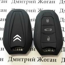 Чехол (черный, силиконовый) для смарт ключа Citroen (Ситроен) 3 кнопки