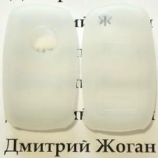 Чехол (белый, силиконовый) для выкидного ключа Volkswagen (Фольксваген) 3 кнопки