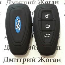 Чехол (черный, силиконовый) для смарт ключа Ford (Форд) 3 кнопки