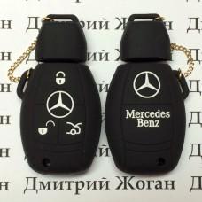 Чехол (черный, силиконовый) для смарт ключа Мерседес (Mercedes) 3 кнопки