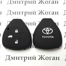 Чехол (черный, силиконовый) для авто ключа Toyota (Тойота) 3 кнопки
