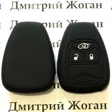 Чехол (черный, силиконовый) для авто ключа Jeep, Dodge, Chrysler (Джип, Додж, Крайслер) 3 кнопки