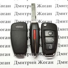 Корпус выкидного авто ключа для Audi А1, А3, А4, А6, Q7 (Ауди А1, А3, А4, А6, Q7) 3 + 1 кнопка, лезвие HU66