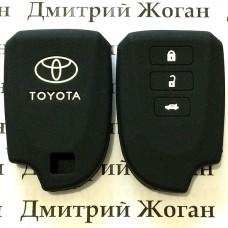 Чехол (черный, силиконовый) для смарт ключа Toyota (Тойота) 3 кнопки