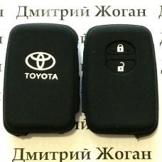 Чехол (черный, силиконовый) для смарт ключа Toyota (Тойота) 2 кнопки