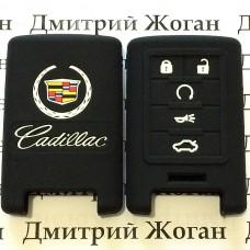Чехол (черный, силиконовый) для смарт ключа Cadillac (Кадиллак) 5 кнопок