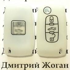 Чехол (силиконовый) для авто ключа Citroen (Ситроен) 3 кнопки