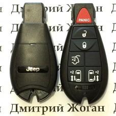 Смарт ключ для Jeep (Джип) 5 кнопки + 1 (panic), чип PCF7941, 433 MHz