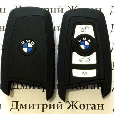 Чехол (черный, силиконовый) для смарт ключа BMW (БМВ) 4 кнопки