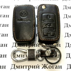 Чехол (кожаный) для выкидного ключа Volkswagen (Фольксваген) 3 кнопки