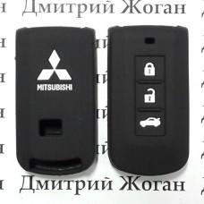 Чехол (черный, силиконовый) для смарт ключа Mitsubishi (Митсубиси) 3 кнопки