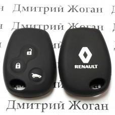 Чехол (черный, силиконовый) для авто ключа RENAULT (Рено) 3 кнопки