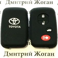 Чехол (черный, силиконовый) для смарт ключа Toyota (Тойота) 4 кнопки