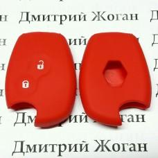 Чехол (красный, силиконовый) для авто ключа RENAULT (Рено) 2 кнопки