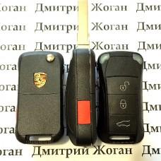 Корпус выкидного автоключа для Porsche (Порше) 3 кнопки + 1 кнопка (PANIK)