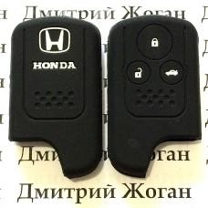 Чехол (черный, силиконовый) для смарт ключа Honda (Хонда) 3 кнопки